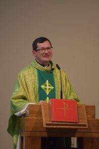 Fr. Mark speaking at his 25th Jubilee Mass