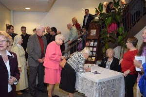 A line formed to sign the guest book at Fr. Mark's 25th Jubilee celebration!